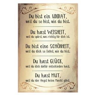 Wandbild goldfarben aus Alu Dibond A4 Sprüche Statements Motivation - Deko Geschenk