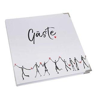 Gästebuch schwarz weiß rot mit Herzen zur Hochzeit 21 x 21 cm - Hochzeitsgästebuch - leer mit Metallecken