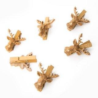 6 kleine Holzklammern mit Hirsch Kopf Geweih - Dekoklammer gold Weihnachten