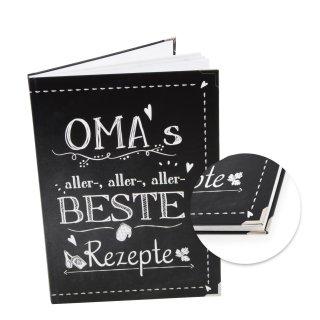 Rezeptbuch zum Eintragen OMAS ALLERBESTE REZEPTE in DIN A4 - leeres Kochbuch für Familienrezepte mit Metallecken