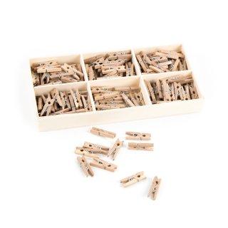 135 mini Wäscheklammern aus Holz 2,5 cm natur braun - kleine Holzklammern Clips Deko