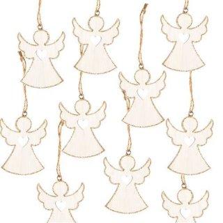 10 Weihnachtsanhänger Engel m. Herz Holz weiß Gold Glitzer Geschenkanhänger 7 cm