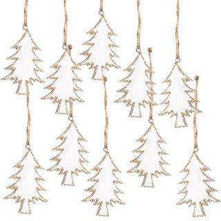 10 Weihnachtsanhänger Tannenbaum Holz weiß Gold Glitzer Geschenkanhänger 8 cm
