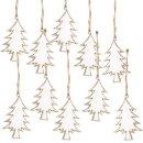 10 Weihnachtsanhänger Tannenbaum Holz weiß...