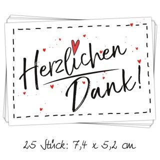 25 kleine HERZLICHEN DANK Herz rot Aufkleber Sticker Etiketten 7 x 5 cm als Dankeschön