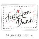 25 kleine HERZLICHEN DANK Herz rot Aufkleber Sticker...