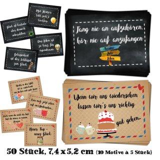 50 Sprüche Aufkleber Etiketten 10 x 5 Sticker mit verschiedenen Motiven schwarz braun bunt - Motivationsaufkleber