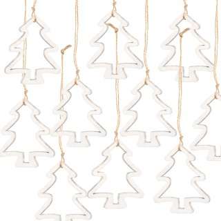 10 Weihnachtsanhänger Tannenbaum Silhouette weiß mit Schnur 9 cm - Christbaumanhänger Shabby Chic aus Holz