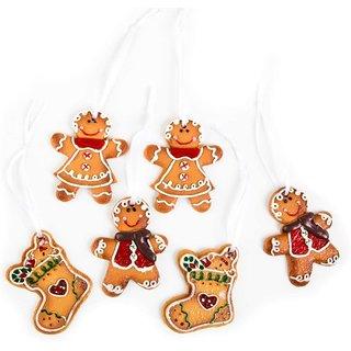 6 Lebkuchen Weihnachtsanhänger - Anhänger Christbaumschmuck braun weiß 7 cm