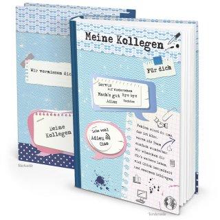 Kollegen Abschiedsbuch DIN A4 blau weiß zum Einschreiben als Abschiedsgeschenk