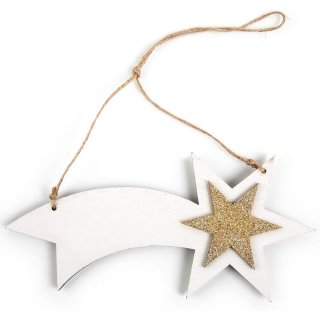 1 Komet Holzstern Anhänger Weihnachten Weihnachtsstern Stern Betlehem 21,5 cm Sternanhänger