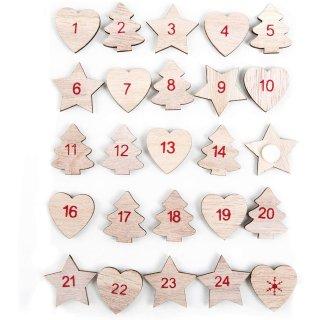 1-25 Aufkleber Adventskalender Zahlen aus Holz mit Klebepunkt - natur rot