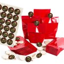 24 rote Kreuzbodenbeutel mit Adventskalenderzahlen...