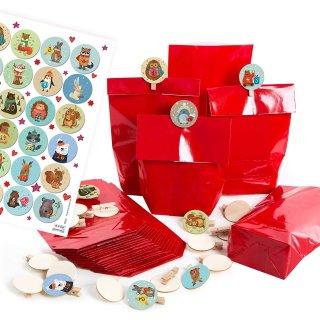 24 Adventskalendertüten für Kinder mit Aufkleber + Holzklammern rot bunt Tiere Motiv - DIY Adventskalender