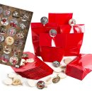 24 Adventskalendertüten zum Befüllen rot mit...