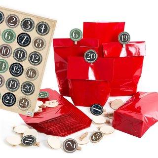 24 Adventskalenderzahlen 1-24 mit Tüten zum Befüllen - Adventskalendertüten mit Zahlenklammern rot grün braun