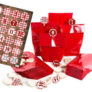 24 DIY Adventskalender Tüten 14 x 22 cm zum selbst Befüllen rot mit Zahlenklammern