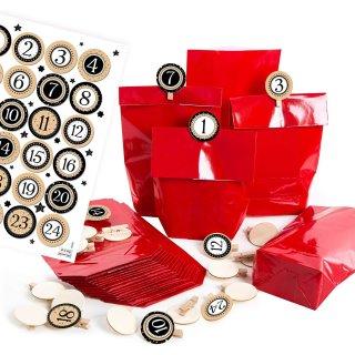 24 rote Adventskalendertüten mit Zahlen 1-24 schwarz gold weiß + Zahlenklammern