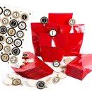 24 rote Adventskalendertüten mit Zahlen 1-24 schwarz...