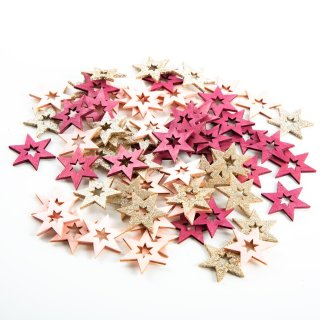 70 Mini Holzsterne in rosa pink & gold - Sterne aus Holz als Bastelmaterial Weihnachten