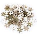 70 Mini Schneeflocken aus Holz 4 cm - Eiskristalle als...