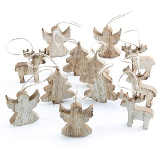 12 Weihnachtsanhänger Baum Engel Rentier - natur 6 cm shabby chic Anhänger Weihnachten