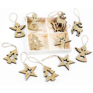 12 Anhänger Weihnachten Deko Set zum Aufhängen Holz Gold Glitter Herz Baum Stern Rentier Vintage