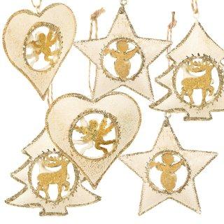 6 edle Anhänger zu Weihnachten in Gold und weiß Metallanhänger Baumschmuck aus Blech 7 cm