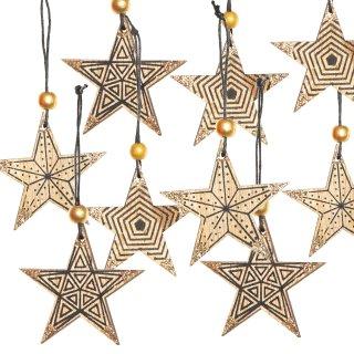 9 Holzsterne Sterne Anhänger Sternanhänger dunkelbraun natur Gold Weihnachtsstern Christbaumanhänger