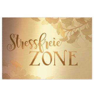 Schild Stressfreie Zone 31 x 21 cm gold mit Ginkgo - Wandbild Türschild Deko Sauna Spa