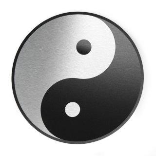 Wandbild zum Aufhängen schwarz weiß Yin und Yang 25 cm - Symbol Wanddeko Spiritualität