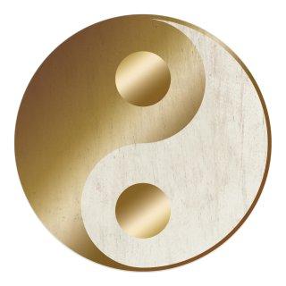 Wandbild Yin und Yang silber gold 31 cm - Wanddeko spirituelles Symbol Türschild