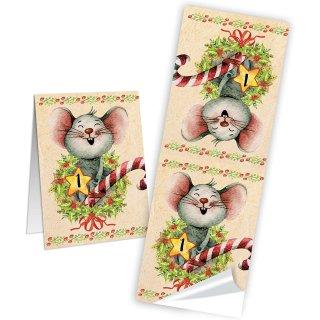 24 Adventskalender Tüten zum Befüllen Papierbeutel mit Aufkleber 1-25 Wintertiere Vintage 14 x 22 x 5,5 cm