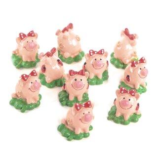 10 kleine Glücksschwein Figuren auf Kleeblatt - 3,5 cm - Glückssymbol Glücksbringer
