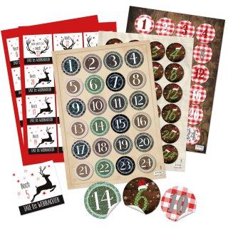 Adventskalenderzahlen Set - 4 x 24 Aufkleber zum Basteln von DIY Adventskalendern
