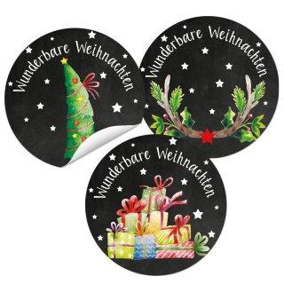 SET 3 x 24 Weihnachtsaufkleber selbstklebend rund 4 cm schwarz bunt