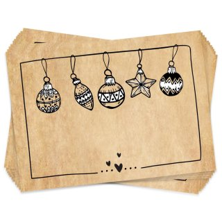 25 beschreibbare Weihnachtsaufkleber braun schwarz - Namensaufkleber Weihnachtsgeschenke