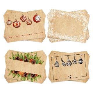 Weihnachtsaufkleber Set 4 x 25 weihnachtliche Aufkleber zum Beschriften blanko - Namensaufkleber