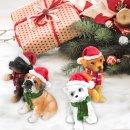 4 witzige Hunde Figuren Weihnachten - Hundefiguren als Geschenk für Hundeliebhaber 5-6 cm