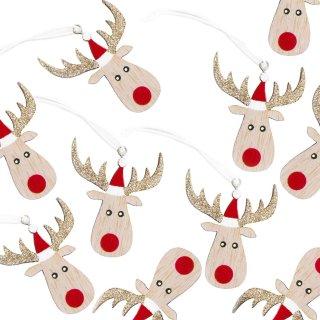 10 Sterne Anhänger Schneeflocke Holz gold rot Weihnachtsdeko Fensterdeko Geschenkanhänger