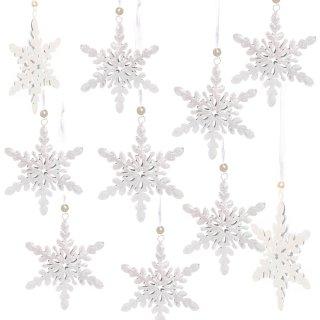10 Metall Schneeflocken Anhänger Eiskristall Schnee Weihnachtsanhänger Baumschmuck 8 cm weiß