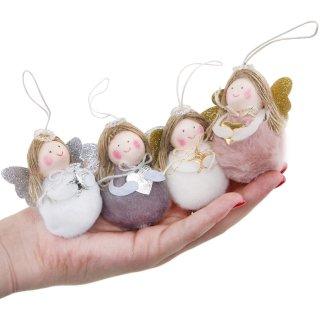 4 Engel mit Schnur zum Aufhängen Weihnachtsbaum Anhänger Engelanhänger Schutzengel 7 cm