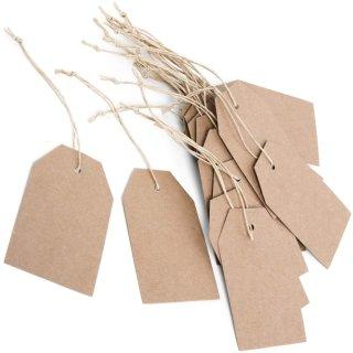 25 Papieranhänger Kraftpapier -  9 x 5,5 cm braun Blanko - zum Aufhängen + Beschriften