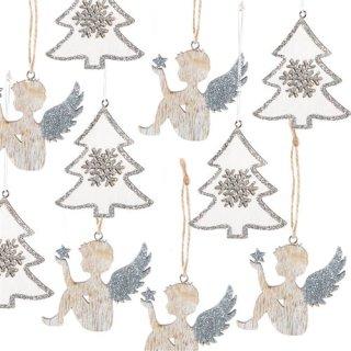 Weihnachtsdeko Set 10 Anhänger - 5 Engel + 5 Bäume Silber Natur weiß - Weihnachtsanhänger
