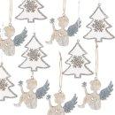 Weihnachtsdeko Set 10 Anhänger - 5 Engel + 5...