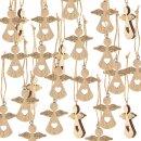 24 kleine Engel Weihnachtsanhänger aus Holz natur gold - natürliche Weihnachtsdeko zum Aufhängen