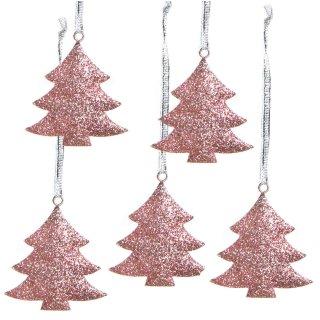 5 kleine Weihnachtsanhänger Baum rosa Silber glitzernd 7 cm - Weihnachtsdeko Weihnachten