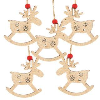 5 natürliche Weihnachtsanhänger Schaukelpferd Rentier 7,5 cm Natur braun mit Schnur