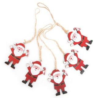 5 Nikolaus Weihnachtsmann Anhänger rot weiß aus Holz 8,5 cm - kleines Nikolausgeschenk