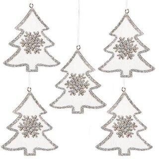 5 weihnachtliche Anhänger Baum weiß Silber aus Holz 8 cm - Weihnachtsdeko zum Aufhängen